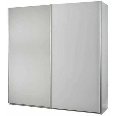 IZIA BLANCHE - Armoire 2 Portes Coulissantes avec Miroir - Blanc