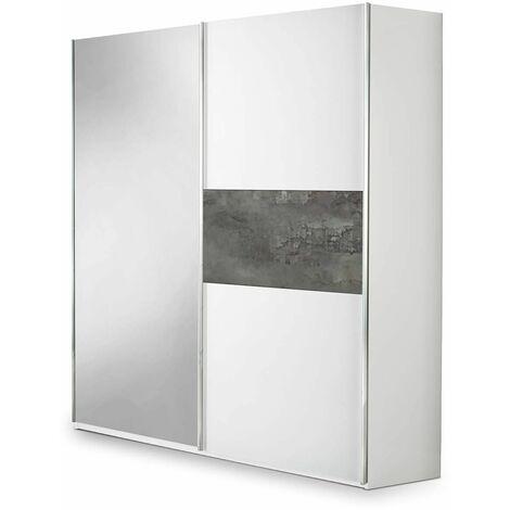 IZIA GRISE - Armoire 2 Portes Coulissantes avec Miroir - Gris foncé
