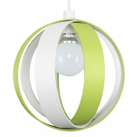 J90 Globe Ceiling Pendant Light Shade - Green & Cream - Green