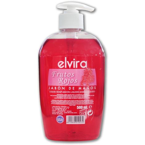 Jabón de manos. Aroma frutos rojos. Botella con dosificador 500 ml