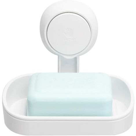Jabonera con ventosa sin taladrar y reutilizable 1 segundo de instalación Ducha Jabonera Rotación de 360 ° No se puede cargar 5KG Soporte para azulejos Ducha Pared Baño