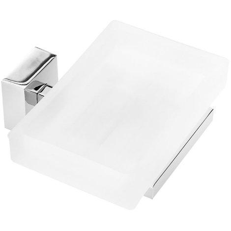 Jabonera para baño de pared cristal. Keos. Cromo. Instalación: Taladro