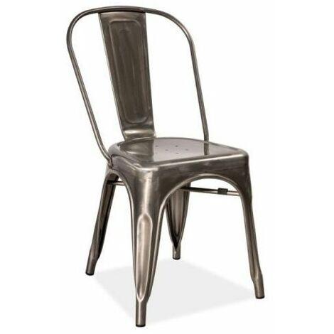 JACK - Chaise style industriel salon/cuisine/salle à manger - 85x37x36cm - Construction robuste en métal - Chaise loft - Gris