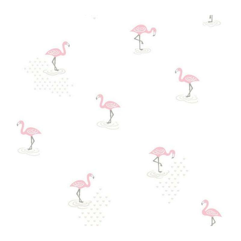 Image of Jack N Rosie Pink Flamingos Junior Wallpaper Textured Kids Bedroom Décor Vinyl