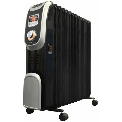 Jack Stonehouse Oil Filled Radiator Heater, LED Display, with Countdown Timer in Black 2kw or 2.5kw