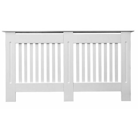 Jack Stonehouse Painted Radiator Cover Cabinet With Vertical Modern Style Slats MDF Large in White