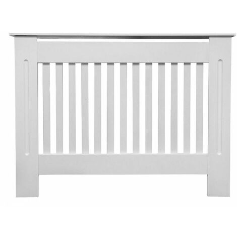 Jack Stonehouse Painted Radiator Cover Cabinet With Vertical Modern Style Slats MDF Small in White