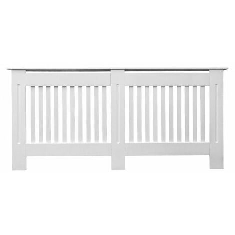 Jack Stonehouse Painted Radiator Cover Cabinet With Vertical Modern Style Slats MDF X-Large in White