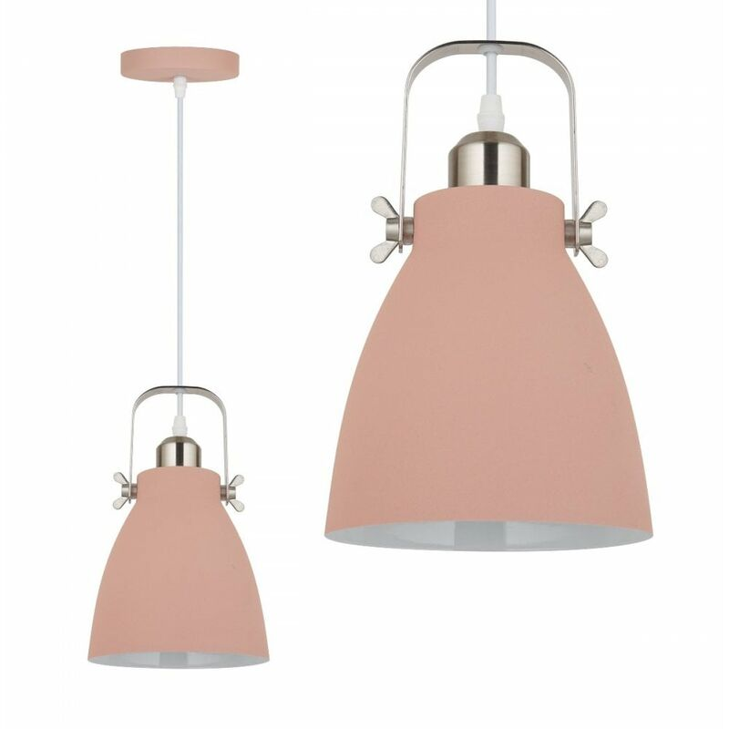 Image of Jack Stonehouse Single Drop Metal Ceiling Pendant Light, Pink/Silver
