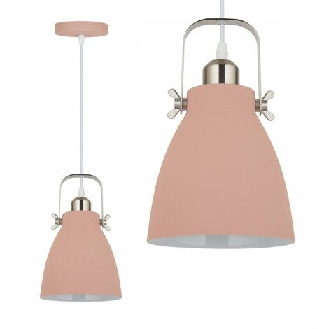 Jack Stonehouse Single Drop Metal Ceiling Pendant Light, Pink/Silver