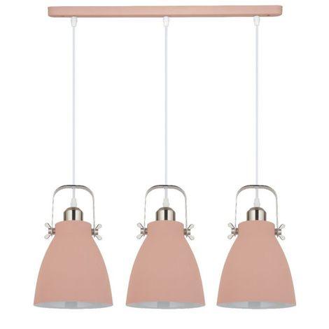 Jack Stonehouse Triple Pendant Metal Ceiling Light, Pink/Silver