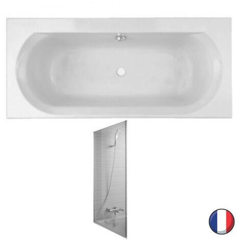 Jacob Delafon - Baignoire acrylique Elise blanche + pare bain Struktura, 180 X 80