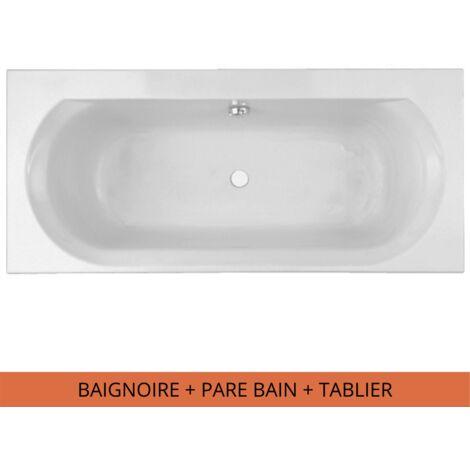 Jacob Delafon - Baignoire acrylique Elise Blanche + pare bain Struktura + tabliers, 180 X 80