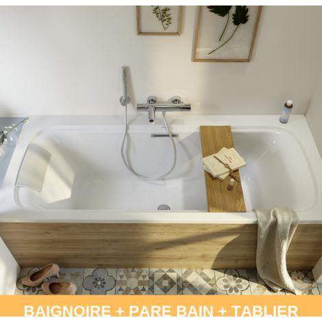 Jacob Delafon - Baignoire acrylique Elite, tablier Elite et pare bain Struktura