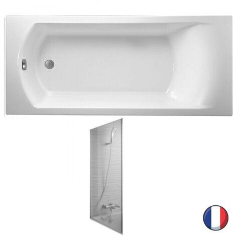 Jacob Delafon - Baignoire acrylique Ove blanche + pare bain Struktura, 170 X 70