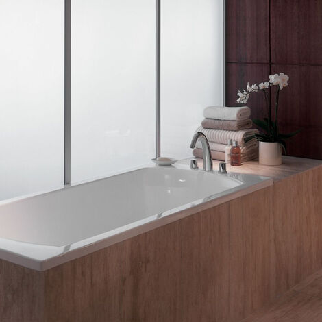Jacob Delafon - Baignoire acrylique Ove blanche + pare bain Struktura + tabliers, 170 X 70