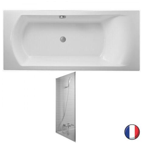 Jacob Delafon - Baignoire acrylique Ove + pare bain Struktura, 180 X 80