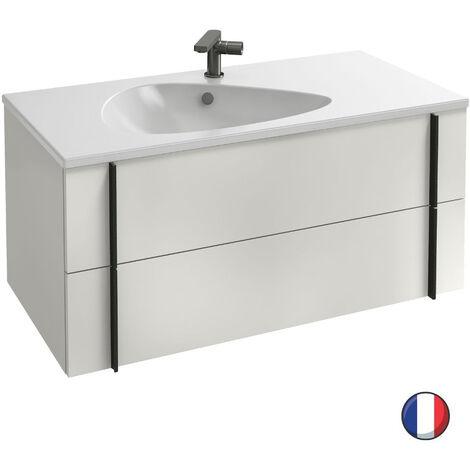 Jacob Delafon - Ensemble meuble et plan vasque Nouvelle vague 2 tiroirs, blanc, 100