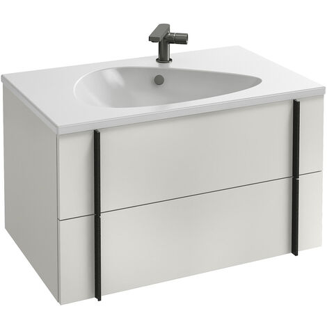 Jacob Delafon - Ensemble meuble et plan vasque Nouvelle vague 2 tiroirs, blanc, 80