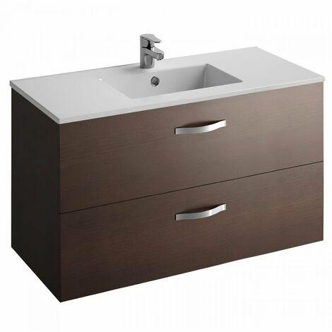 JACOB DELAFON Meuble salle de bain + vasque 2 tiroirs - Décor bois Wengué - L 100cm - OLA