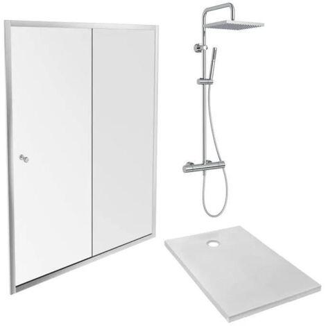 Jacob Delafon - Pack douche avec receveur Ipso, colonne douche Brigitte et paroi de douche Serenity