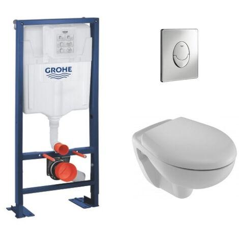 Jacob Delafon Pack WC suspendu Brive + abattant + plaque + bâti Grohe, abattant frein de chute, plaque chromee