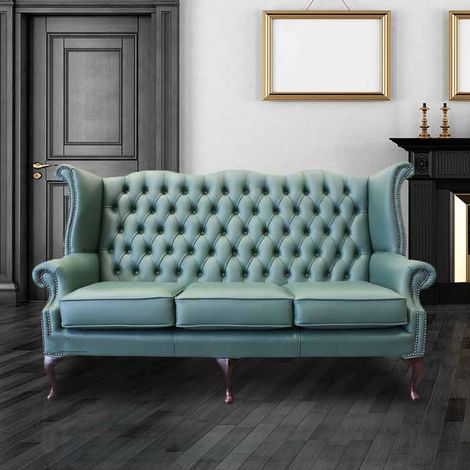 Jade Green Leather Chesterfield 3 Seater High Back Wing sofa | DesignerSofas4U