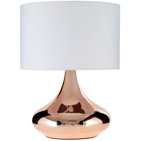 Jaden Table Lamp, Copper Ceramic, Ivory Shade