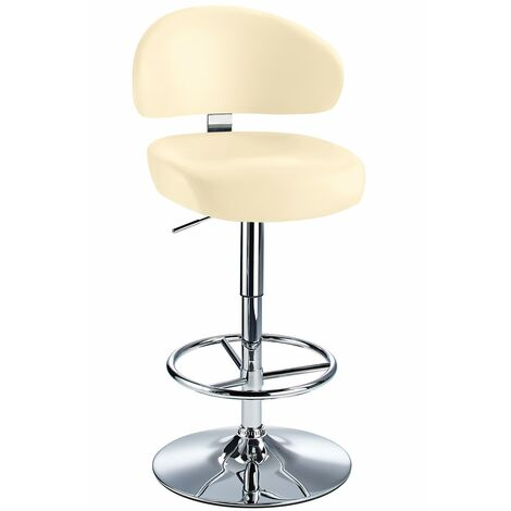 Jamaica Height Adjustable Bar Stool Cream Faux Leather Padded Seat Cream Faux Leather Chrome Cream 73 - 84 cm Chrome