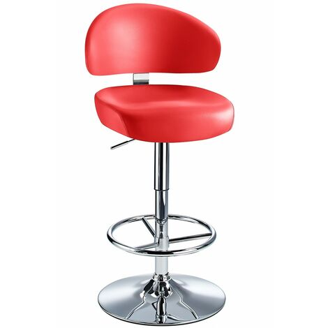 Jamaica Height Adjustable Bar Stool Red Faux Leather Padded Seat Red Faux Leather Chrome Red 73 - 84 cm Chrome