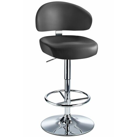 Jamaica Height Adjustable Bar Stool - With Black Faux Leather Padded Seat Black Faux Leather Chrome Black 73 - 84 cm Chrome