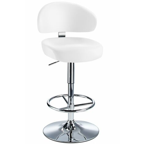 Jamaica Height Adjustable Bar Stool - With White Faux Leather Padded Seat White Faux Leather Chrome White 73 - 84 cm Chrome