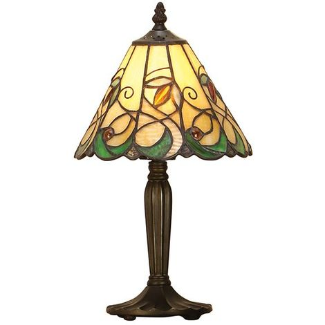 Jamelia Intermediate Tiffany Style Small Table Lamp Stained Glass Shade Resin