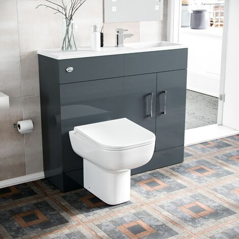 James 1000mm Slimline Floorstanding Vanity Basin and Debra BTW Combo Unit Grey