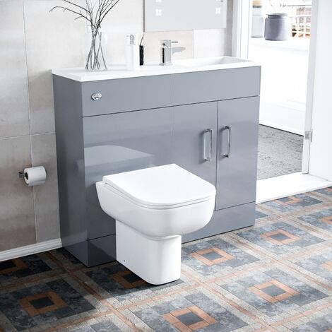 James 1000mm Slimline Floorstanding Vanity Basin and Debra BTW Combo Unit Light Grey