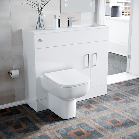James 1000mm Slimline Floorstanding Vanity Basin and Debra BTW Combo Unit White