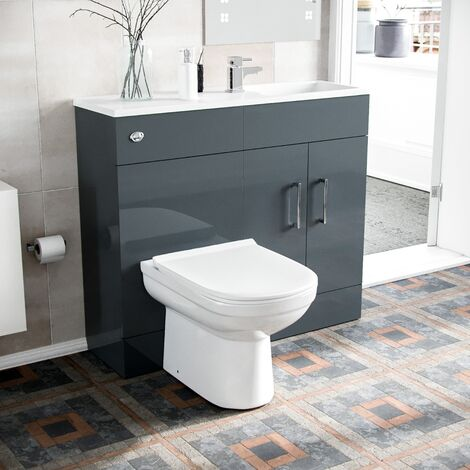 James 1000mm Slimline Floorstanding Vanity Basin and Eslo BTW Combo Unit Grey