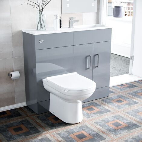 James 1000mm Slimline Floorstanding Vanity Basin and Eslo BTW Combo Unit Light Grey