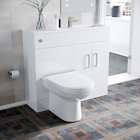 James 1000mm Slimline Floorstanding Vanity Basin and Eslo BTW Combo Unit White