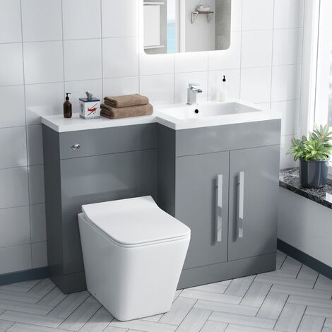 James 1100MM Light Grey Right Hand Vanity Unit with BTW Toilet, Basin and Unit