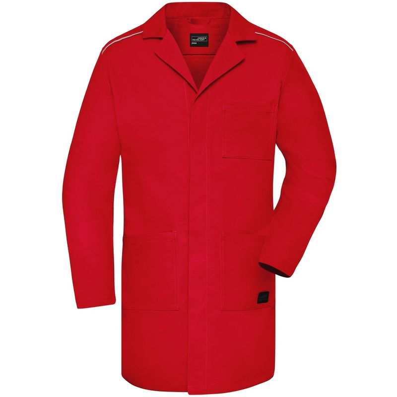 Image of Adults Unisex Work Coat (M) (Red) - James And Nicholson
