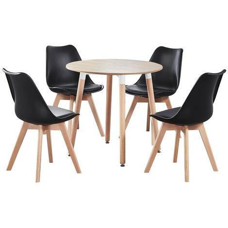 Jamie Halo Round Dining Table Set | 4 CHAIR SET | Retro Chairs | Dining Table (Oak Table & Black Chairs)