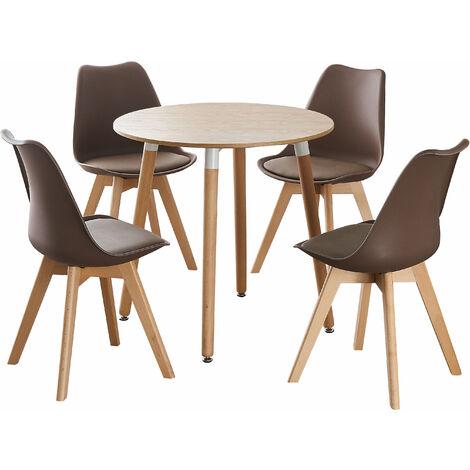 Jamie Halo Round Dining Table Set | 4 CHAIR SET | Retro Chairs | Dining Table (Oak Table & Brown Chairs)