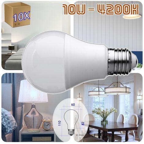 jandei 10 x Bombilla Led E27 A60 de 10W equivalente a 80W, 330º de apertura, en luz blanca neutra 4200K