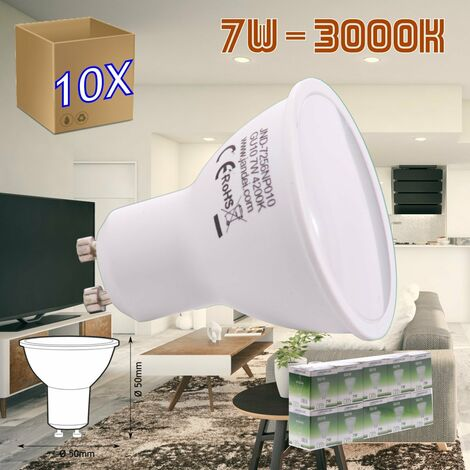 jandei 10x Bombilla led GU10 de 7W equivalente a 50W, 120º de apertura, en blanco cálido 3000K de 50x50mm marco blanco