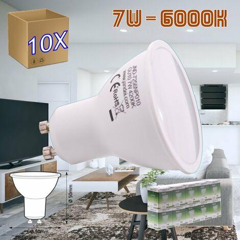 jandei 10x Bombilla led GU10 de 7W equivalente a 50W, 120º de apertura, en blanco frio 6000K de 50x50mm marco blanco