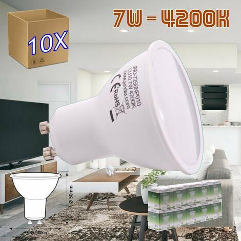 jandei 10x Bombilla led GU10 de 7W equivalente a 50W, 120º de apertura, en blanco natural 4200K de 50x50mm marco blanco