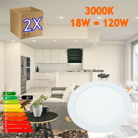 jandei 2x Downlight LED 18W Redondo Plano De Empotrar Luz Blanca Cálida 3000K, Aluminio Aro Blanco Mate, Para Hueco De 200-205mm Blanco