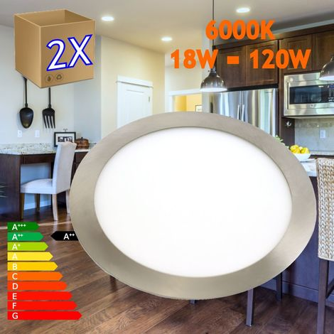 jandei 2x Downlight LED 18W Redondo Plano De Empotrar Luz Blanca Fría 6000K, Aluminio Aro Acero Mate, Para Hueco De 200-205mm