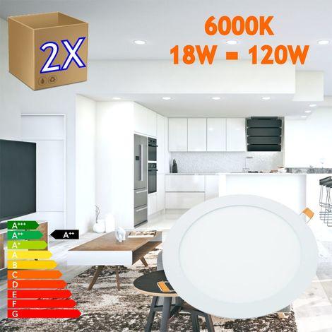 jandei 2x Downlight LED 18W Redondo Plano De Empotrar Luz Blanca Fría 6000K, Aluminio Aro Blanco Mate, Para Hueco De 200-205mm Blanco …